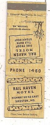 Rail Haven Motel Highway 60-62 Sikeston MO Matchcover 110116