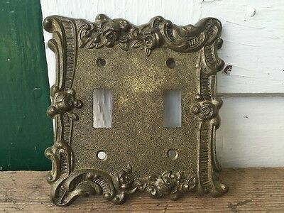 Vintage Edmar Double Light Toggle Switch Plate Cover Floral Rose Chic Gold