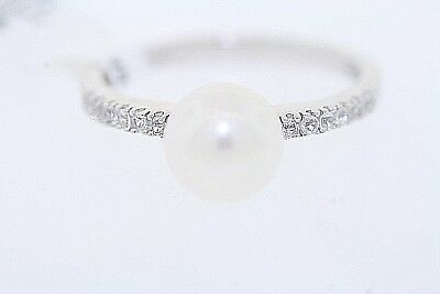 NEW Sterling Silver 7.7mm Pearl & .18ct Round White Sapphire Ring Size 7