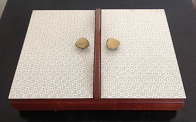Mid Century Atomic Teak and Formica Canteen Cutlery Box