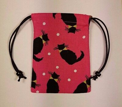 "Small Lined  Black Cats on Pink Bag 3"" x 4"" jewelry keepsake crystals pouch"