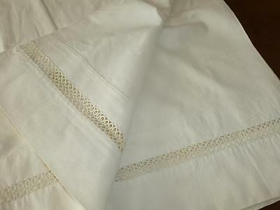 Antique Vintage 100% Cotton BED SHEET with TATTED LACE INSERT Ivory Ecru White