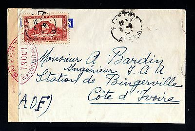 13827-ALGERIA-MILIT.CENSOR COVER ALGER to COTE D´IVOIRE.1939.WWII.Algerie.FRENCH
