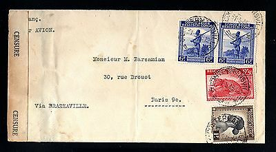 13835-BELGIAN CONGO-AIRMAIL CENSOR COVER COSTERMANSVILLE to PARIS (france)1945.