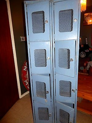 2 Vintage OLD INDUSTRIAL Military SCHOOL LOCKER STORAGE METAL CABINET 4 DOOR Lot