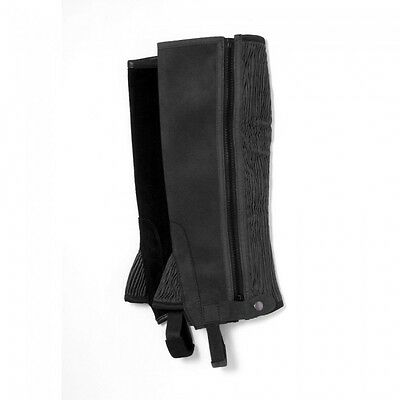 Tough-1 Synthetic Half Chaps  --BLACK  --ADULT SMALL  --NWT-- #63-67