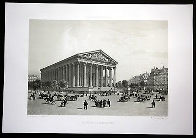 ca. 1860 Eglise de la Madeleine Kirche church Paris vue Lithographie Litho
