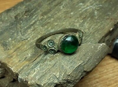 Old Antique Medieval Ring With Green Glas #2082