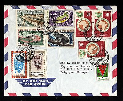 13841-COTE D´IVOIRE-AIRMAIL COVER ABIDJAN to BELGIUM.1963.FRENCH Colonies.Aerien