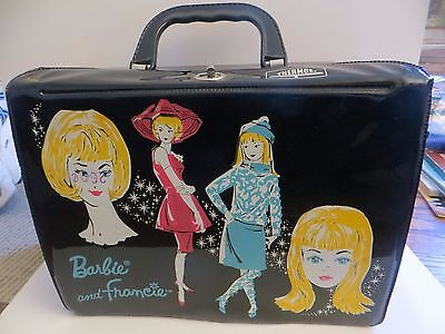 Vintage 1965  Black Vinyl Barbie and Francie Lunch Box with Thermos King Seeley
