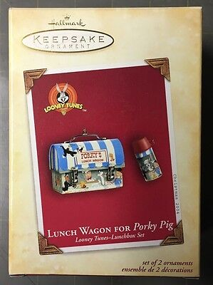 2004 Hallmark Looney Tunes Lunch Wagon For Porky Pig Lunch Box & Thermos MIB