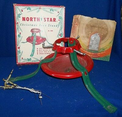 Vintage 1950 USA Red & Green NORTH STAR Xmas Tree Stand Boxed + Deco Angel Hair