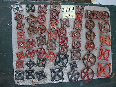 54  HEAVY OLD RED IRON water Faucet Knobs valve handles STEAMPUNK Industrial art