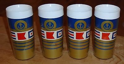 Unique Vintage Rare Set Of 4 1978 Admiral Sailing Signal Flags Glasses