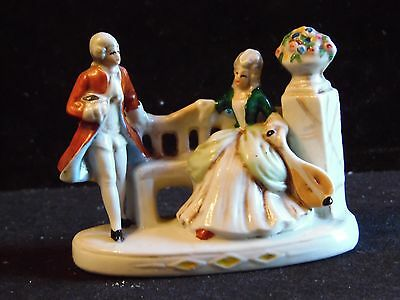 "Vintage Germany Victorian Couple Bench Flowers Porcelain Figurine 3"" T Numbered"