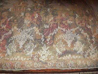 """4 yds Dainty French Antique Vintage FLORAL SWAGS & BASKET Net Bobbin LACE 27"""" w"""