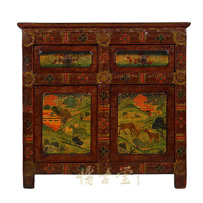 Tibetan Antique 2 Doors Painted Cabinet/Table 28M12