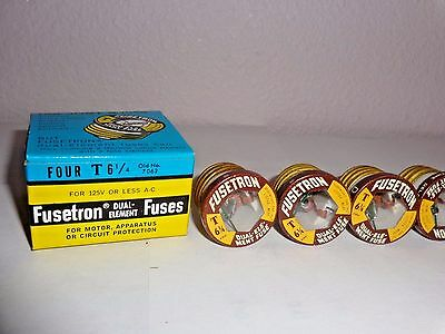 4 Buss FUSETRON Type T 6 1/4 Amp Screw Fuse Dual Element NEW  6 1/4A T- 6 1/4