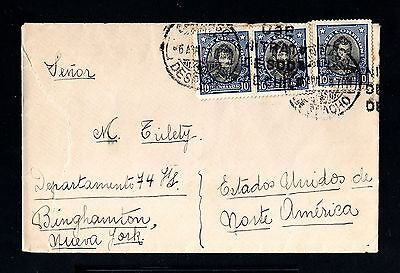 13742-CHILE-OLD COVER SANTIAGO to BINGHAMTON (usa)1928.CHILI.Brief.enveloppe.