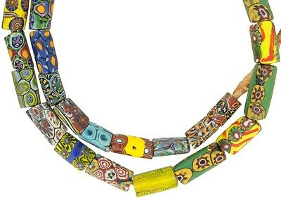Mix Strand Of Different Old Millefiori Venetian Mosaic Glass Beads African Trade