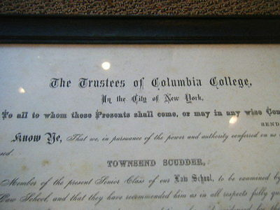 1888 Columbia Law School Diploma Townsend Scudder signed Dwight Hamilton College
