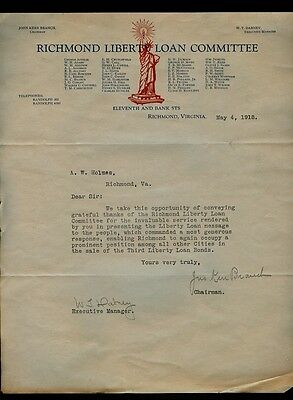 1918 Richmond Liberty Loan Committee Letter Signed John Kerr Branch to AW Holmes
