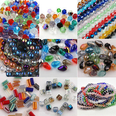 Wholesale Assorted Teardrop Faceted Crystal Glass Loose Spacer Beads Finding