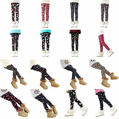 Winter Toddler Baby Girls Legging Pants Thick Warm Skinny Stretchy Trousers 2-8Y