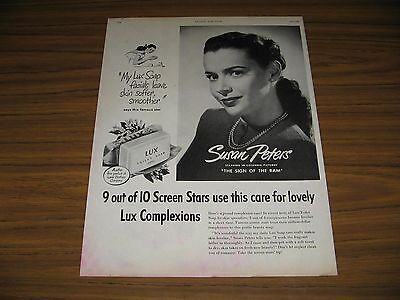1948 Print Ad LUX Bar Soap Actress Susan Peters Columbia Pictures