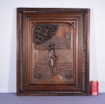 French Antique Breton (Brittany) Panel Chestnut Wood with a Standing Breton Man