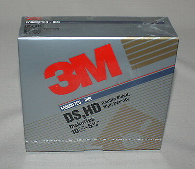 "3M IBM Formatted Box 10 Diskettes 5.25"" Double Sided High Density 1993 New 12883"