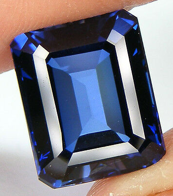 14,16CT. TOP QUALITE T. EMERAUDE 14,5x11,8 MM. SAPHIR BLEU DE SYNTHESE
