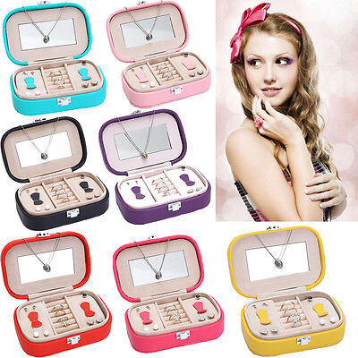 Jewelry Box Organizer Ring Earring Necklace Mirror Display Storage Case Leather