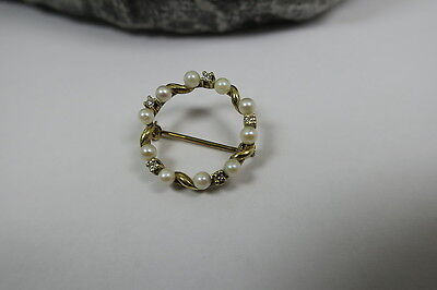 Vintage Brosche 10x Perle & 5x Diamant - 585 Gold - brooch pearl diamond gold