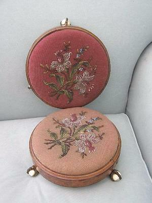Pair Antique Victorian Bead Work Ball & Claw Foot Stools Foot Rest Furniture