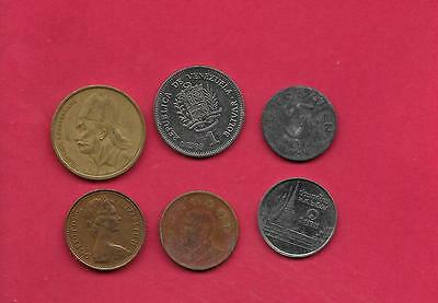 World Foreign 6 Diff Different Coin Lot Collection Set Great For Geography!