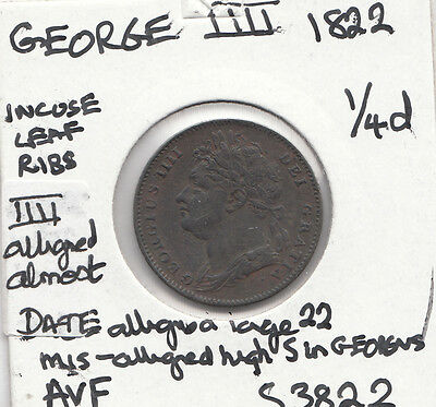 1822 George Iiii Farthing S3822 Many Unrecorded Errors See Description