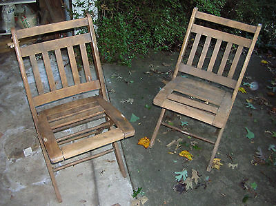 AS IS 2 Antique Wooden Folding Church Chairs Slat Wood Vintage