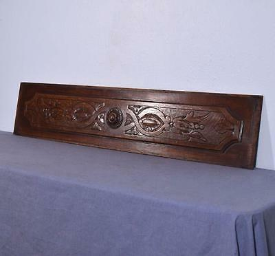 "*43"" French Antique Hand Carved Architectural Panel Solid Oak Wood Trim"