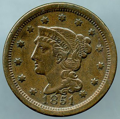 1851 Large Cent Extra Fine Condition