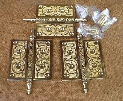 "Vintage Set Of 3 Brass Steeple Top Door Hinges  4"" X 4"""