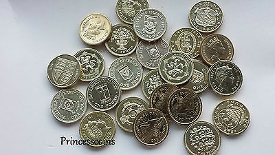 Selection Of Uncirculate Gb English Channel Island £1 One Pound Coins