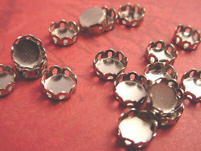 silver tone Round Lace Edge Bezel Cups 5mm - 18 Pieces