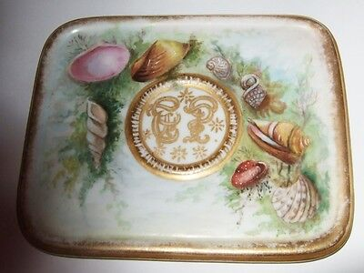 Rare Antique Porcelain Lid Paperweight Hand Painted Shell Designs Rare Box Lid