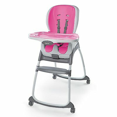Ingenuity SmartClean Trio 3-in-1 High Chair Booster Seat, toddler Chair, Magenta