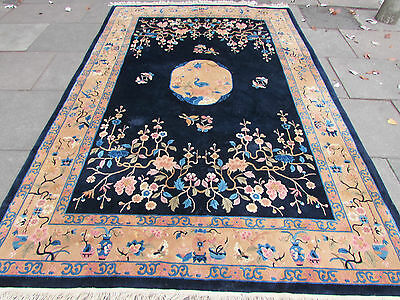 Antique Traditional Hand Made Rug Chinese Oriental Carpet Blue Wool 308x203cm