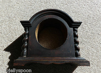 Antique Vintage Wooden Mahogany? Empty Mantle Clock Case - Barley Twist Detail