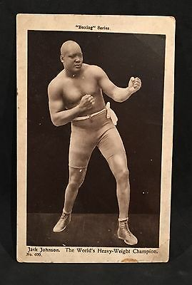 Vintage 1921 Jack Johnson Boxing Series Postcard #600 Vg+ Printed In England