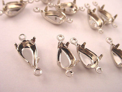 18 Silver Tone Pear Prong Settings 10x6 2 Ring Closed Back connectors