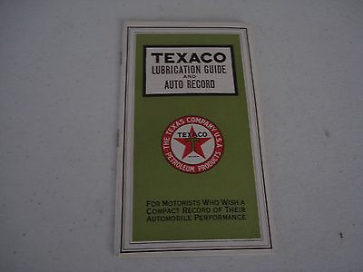 Nos Unused 1920's Texaco Lubrication Guide And Auto Record Booklet